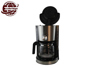 Silver Black Compact Drip Coffee Maker , 8-10 Cups Drip Filter Coffee Machine
